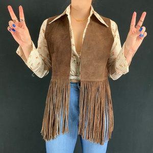 60s/70s Dark Brown Suede Fringe Vest